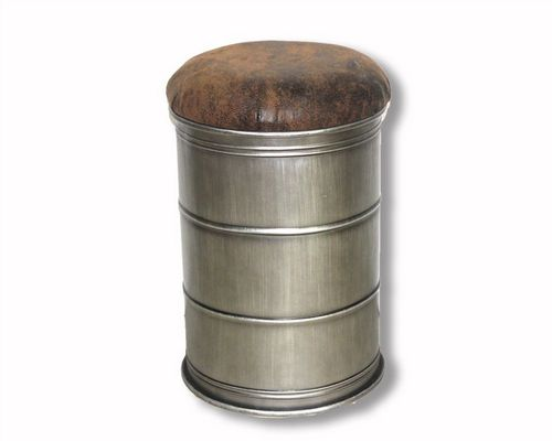 51cm Iron Oil Barrel Ottoman Storage Stool With Faux Leather Lid